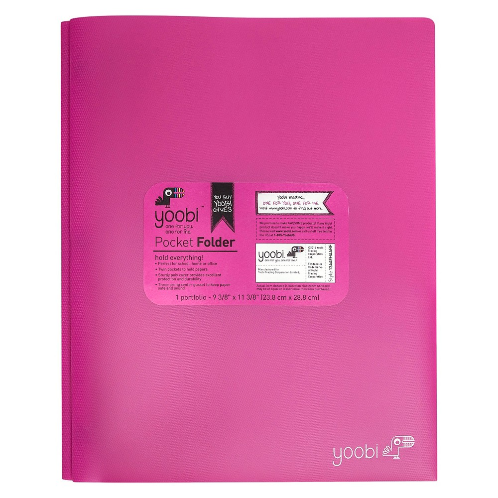 Yoobi Pronged 2 Pocket Plastic Folder - Pink