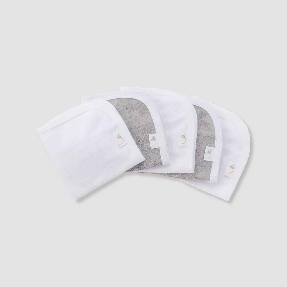 Burt's Bees Baby Organic Cotton 5pk Washcloth Set - Heather Gray