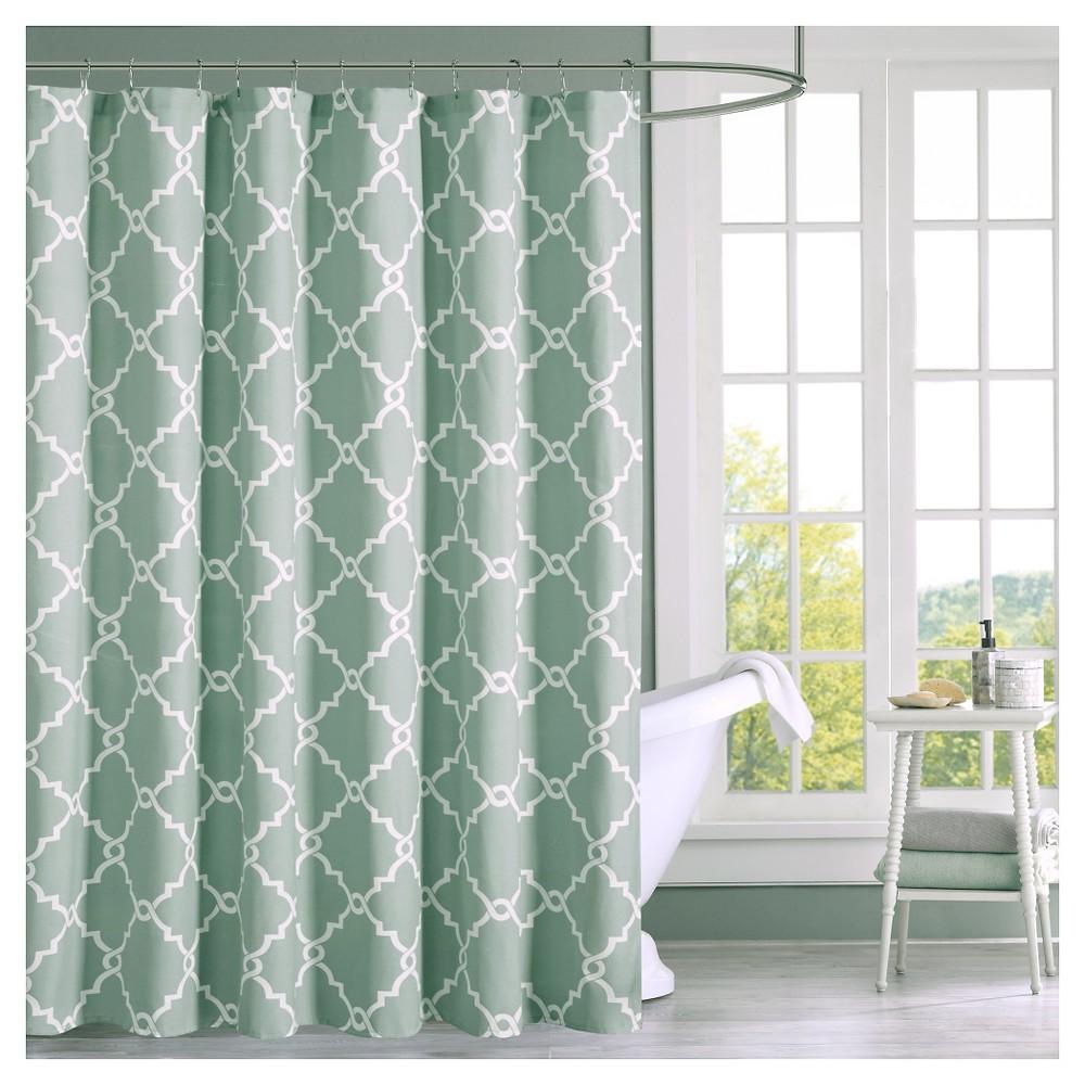 Sereno Geometric Fretwork Shower Curtain Seafoam