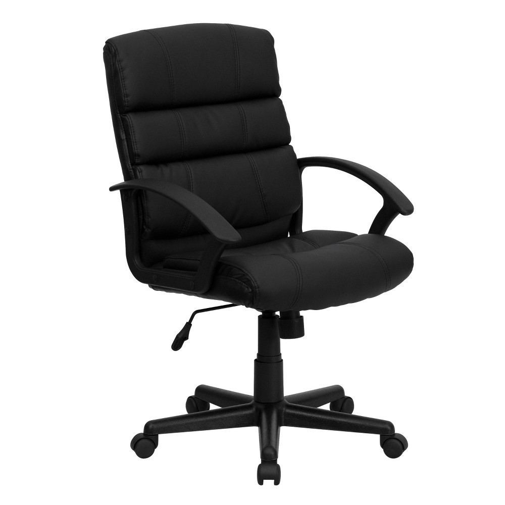 Mid-Back Swivel Task Chair Black Leather - Flash Furniture