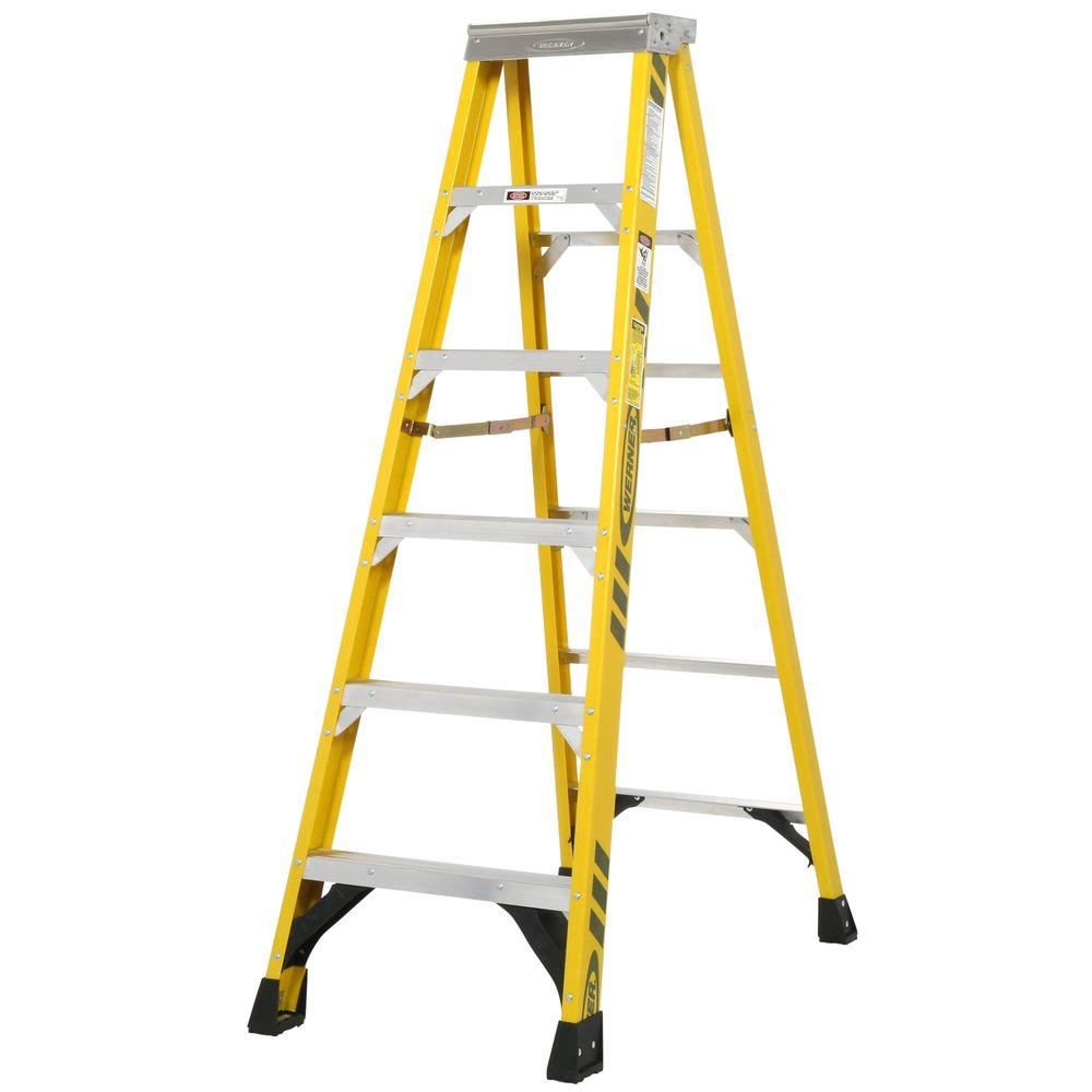 Werner 6 ft. Fiberglass Step Ladder with 375 lb. Load Capacity Type IAA Duty Rating