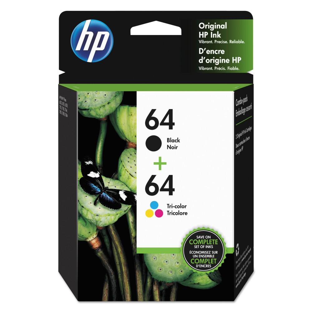 HP 64 High Yield Original Ink Cartridges - Black, Tri-color (X4D92AN#140), Black & Tri-Color (64)