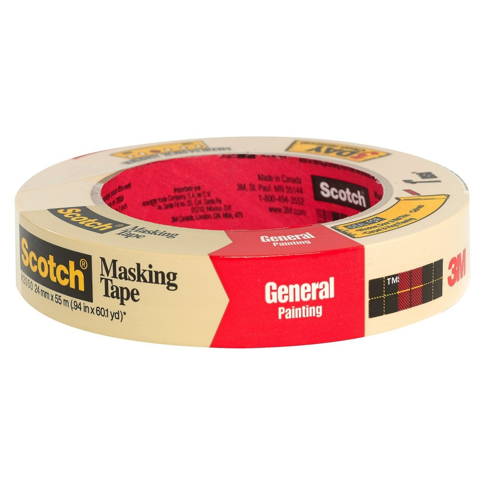 Scotch Masking Tape, .94 in x 60.1 yd, Beige