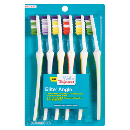 Well at Walgreens Elite Angle Full Head Toothbrushes, Soft Bristles, with 2 Toothbrush Covers - 6 ea