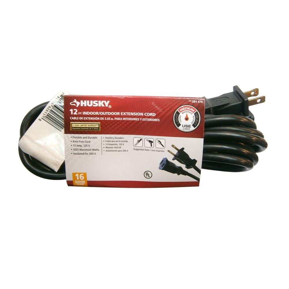 Husky 12 ft. 16/2 Indoor/Outdoor Extension Cord, Black