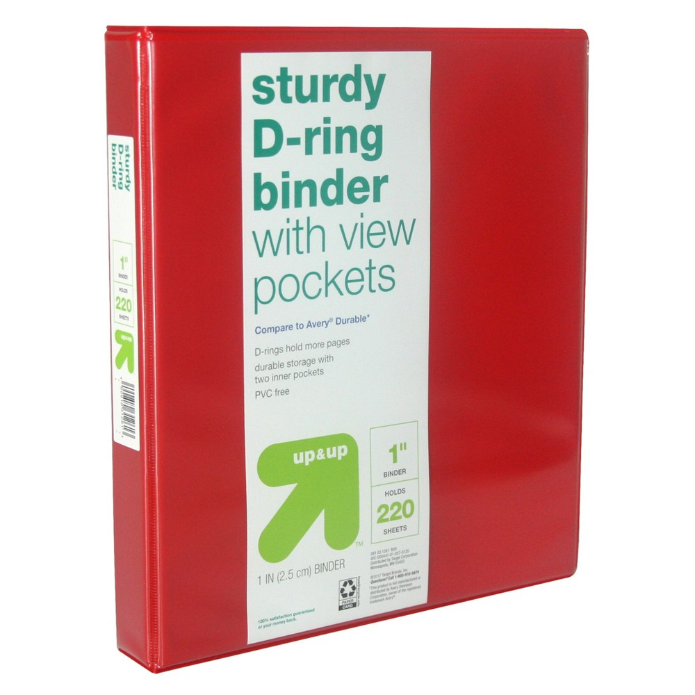 1 3 Ring Binder Clear View Red (Compare to Avery Durable) - Up&Up