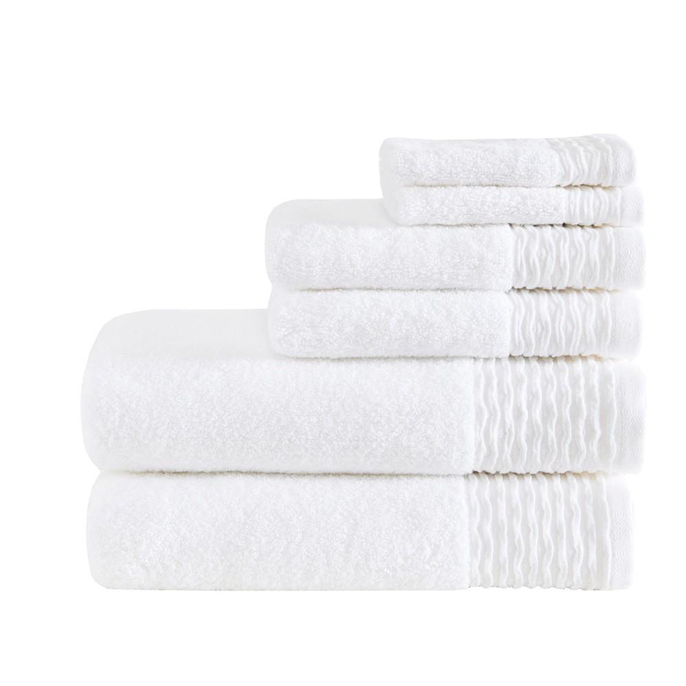 6pc Curv Jacquard Wavy Cotton Bath Towels Sets White