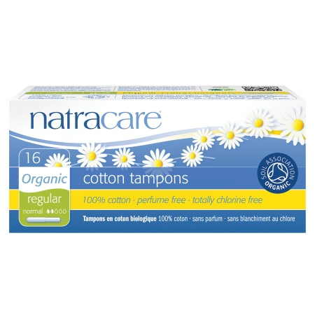 Natracare Organic All-Cotton Tampons with Applicator - 16 ea