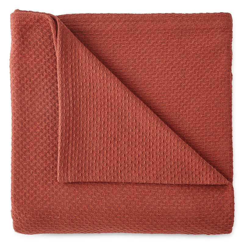 JCPenney Home™ Woven Cotton Blanket, Warm Spice, King