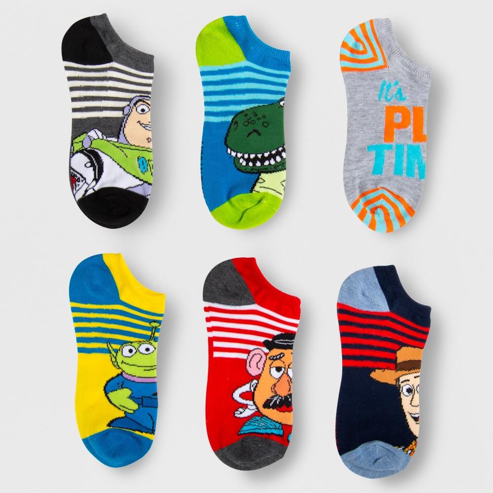 Boys' Disney Toy Story 4 6pk No Show Socks - L, Gray