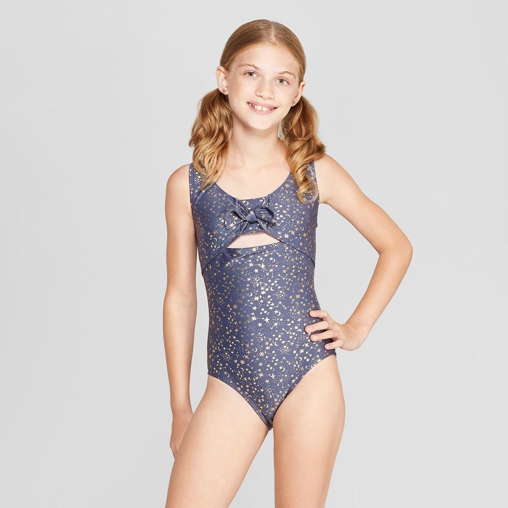 Girls' Stars One Piece Swimsuit - art class Navy S, Blue