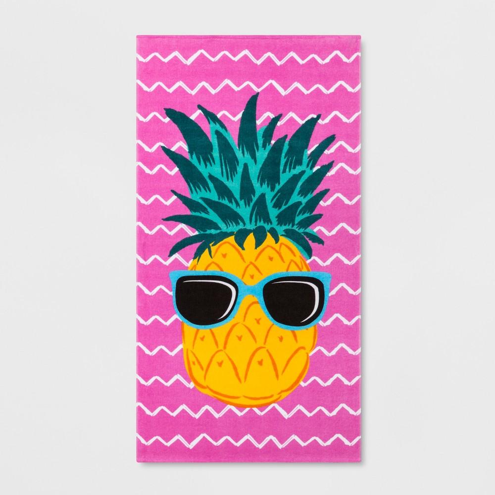 Pineapple Beach Towel Pink - Sun Squad