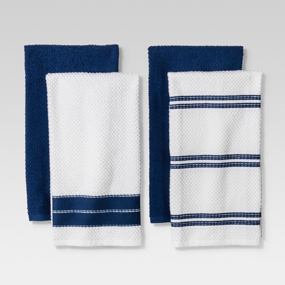 4pc Kitchen Towel Blue/White - Threshold