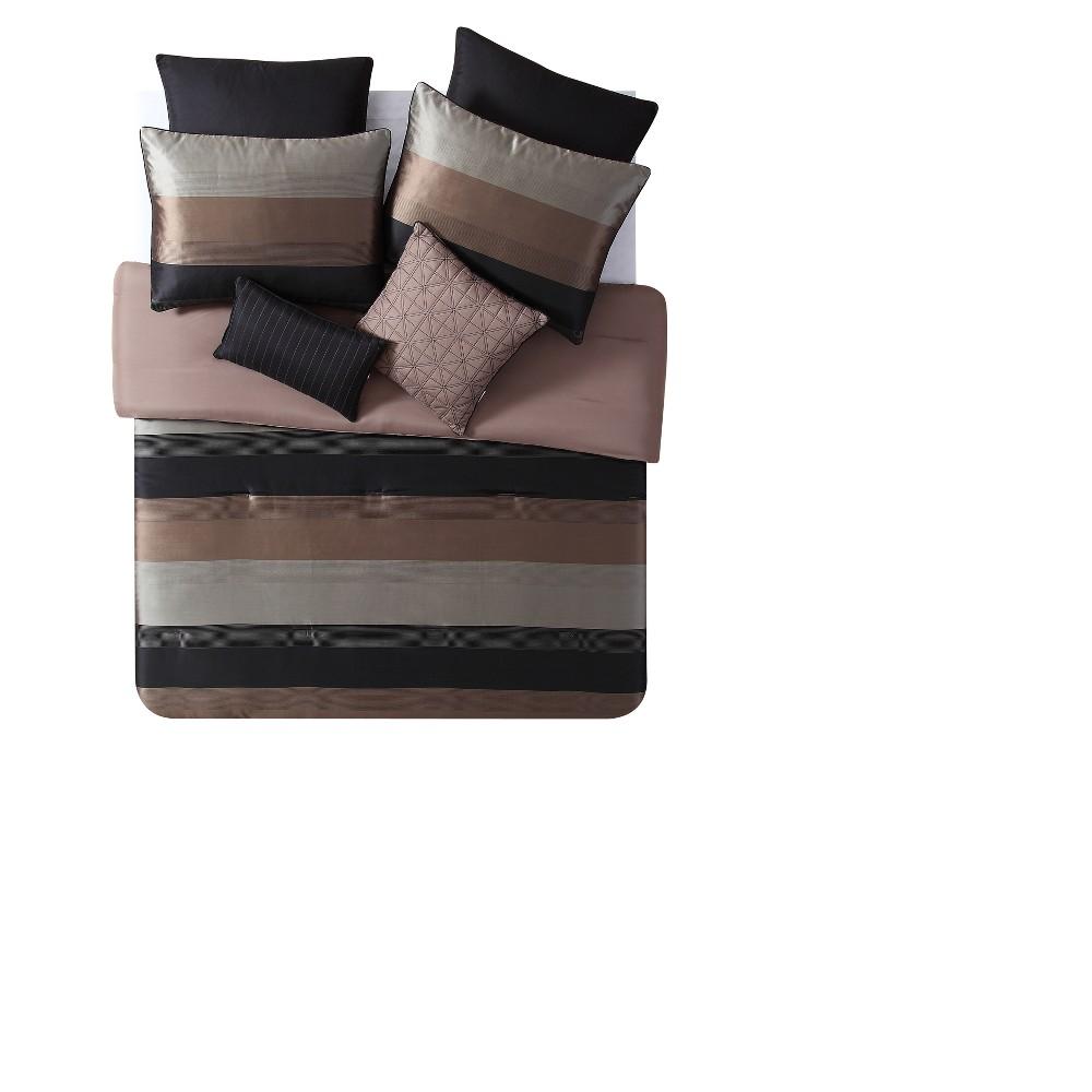 Black & Gold Maxwell Comforter Set (Full) - Vcny