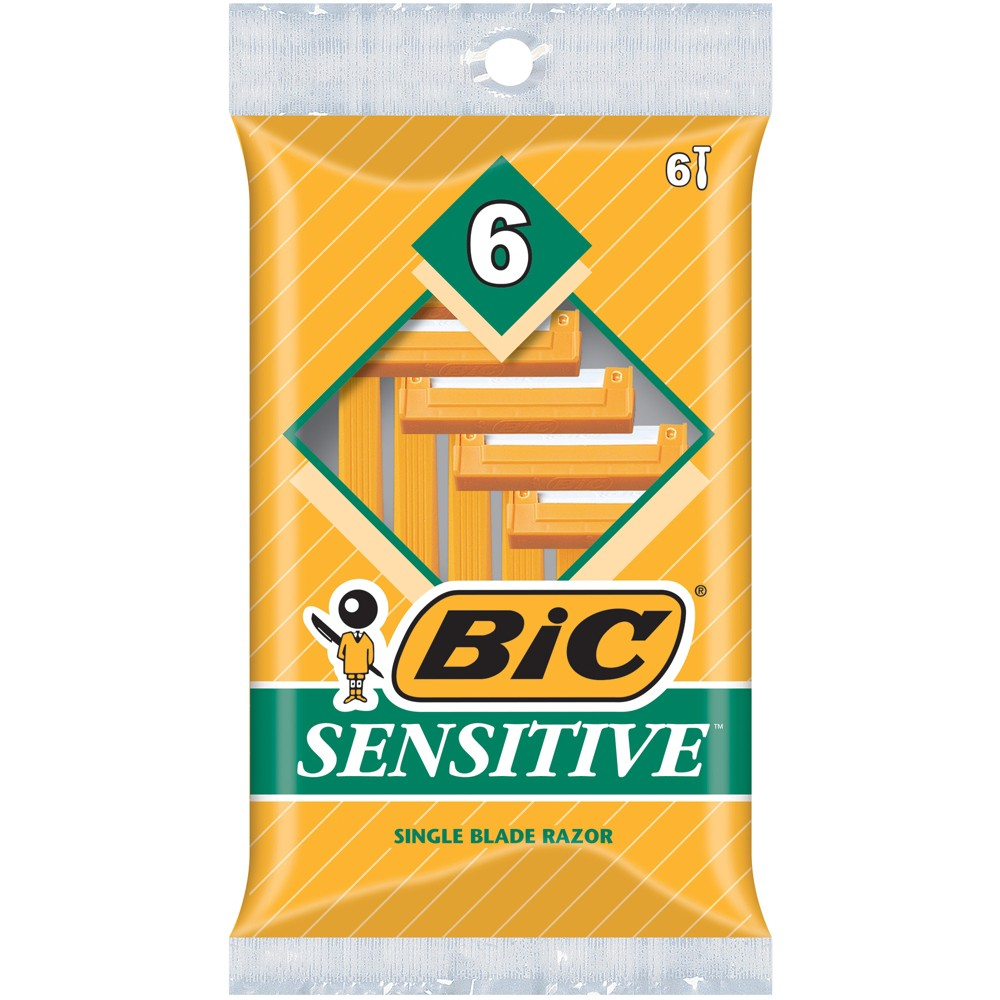 BIC Sensitive Shaver Single Blade Disposable Razor for Men - 6ct