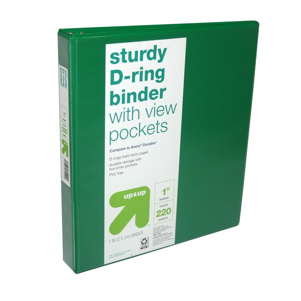 1 3 Ring Binder Clear View Green (Compare to Avery Durable) - Up&Up