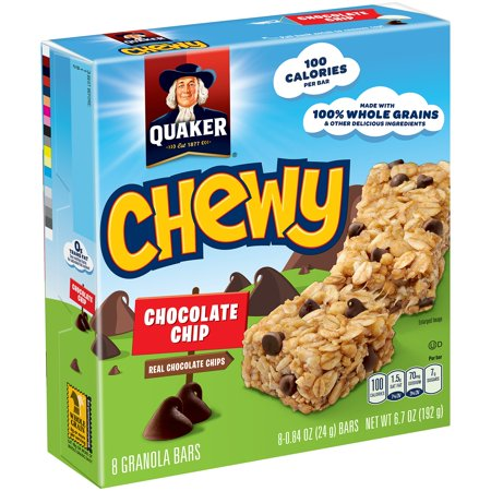 Quaker Chewy Granola Bars, Chocolate Chip, 0.84 oz Bars, 8 Count