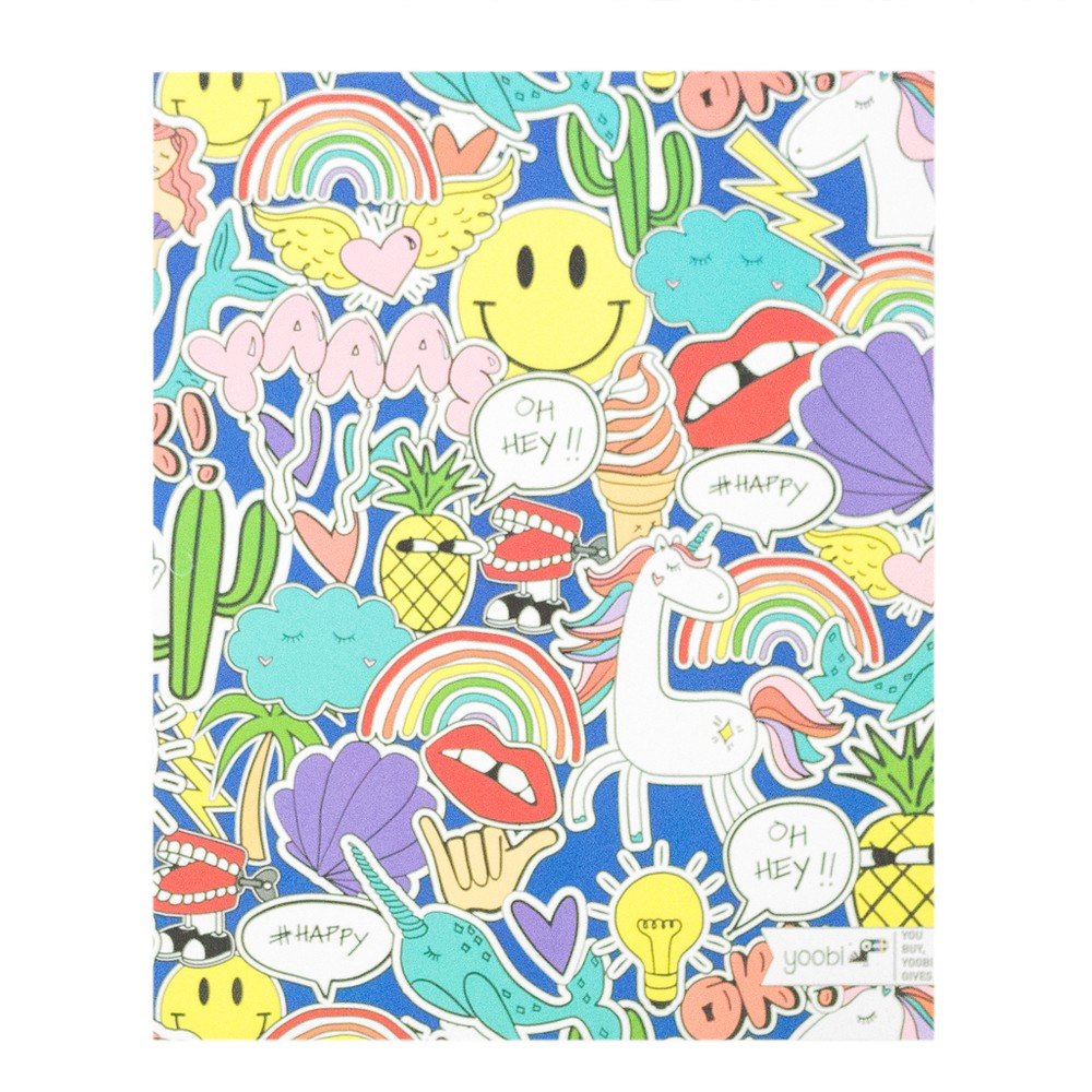 2 Pocket Paper Folder Blue Jumbo Doodle - Yoobi, Multi-Colored
