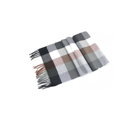 Soft Tartan Plaid Blanket Scarf-Gray