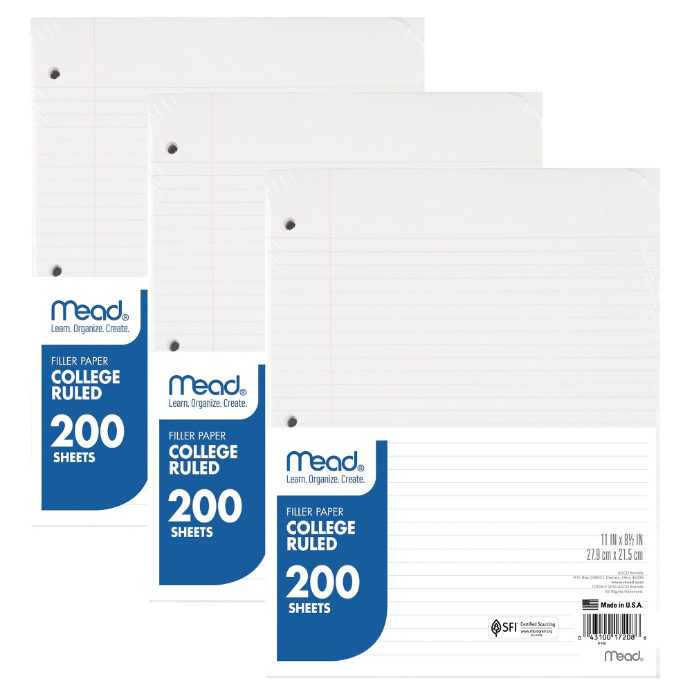 "24pk 200ct Filler Paper College Ruled 11"" x 8.5"" - Mead, White"