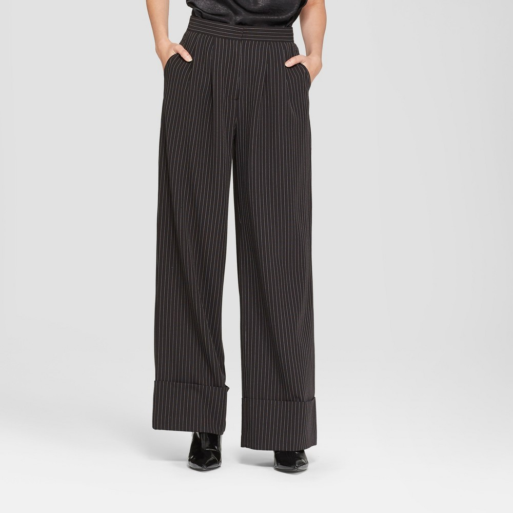Women's Wide Leg Pinstripe Pants - Prologue Black 8