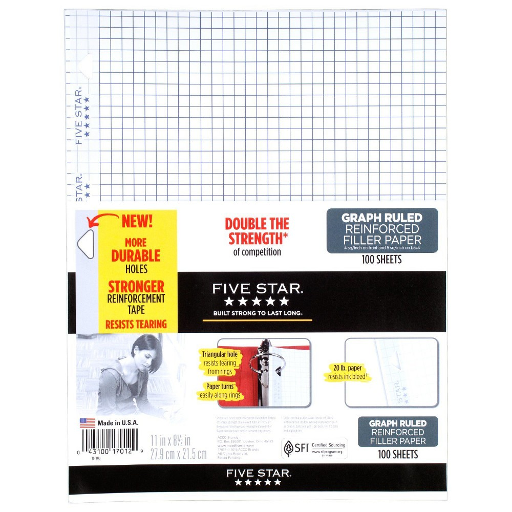 Five Star Filler Paper Graph Ruled Reinforced 100ct, White