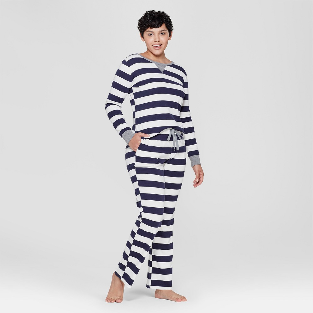 Women's Striped Pajama Set - Navy M, Blue