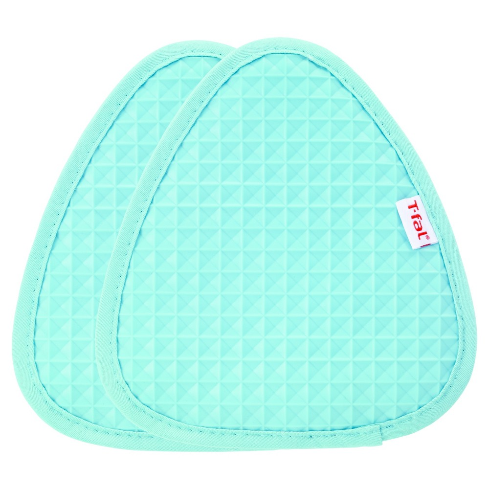 "2pk Teal (Blue) Waffle Silicone Pot Holder (7.5""x8.25"") - T-Fal"