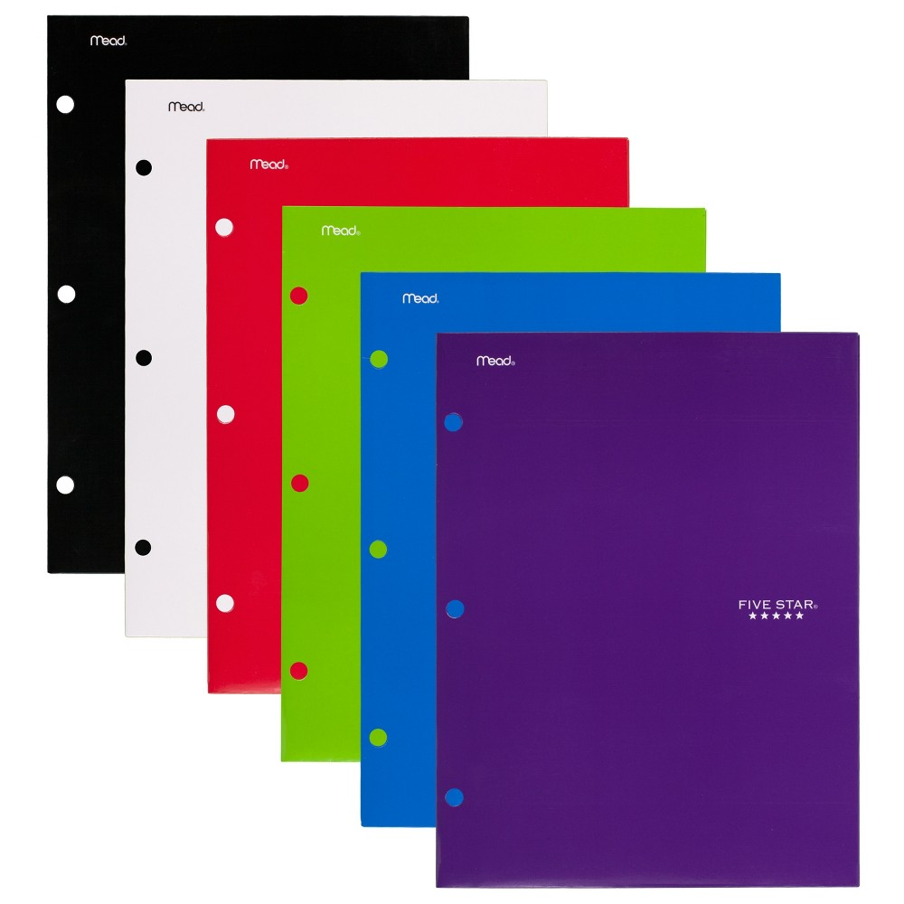 6ct 4 Pocket Paper Folder Basic Colors - Five Star, Multi-Colored