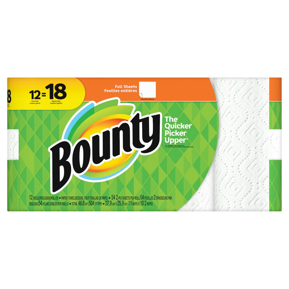 Bounty Full Sheet Paper Towels - 12 Giant Rolls