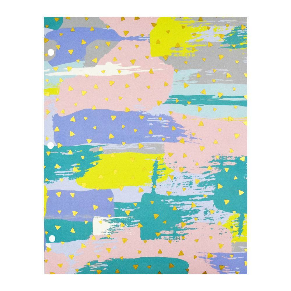 2 Pocket Paper Folder Pastel Brushstokes - greenroom, Multi-Colored