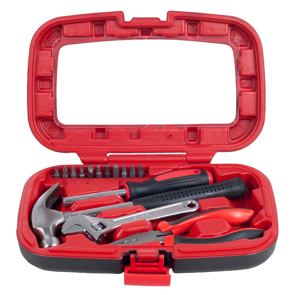 15pc Household Hand Tools Set Red - Stalwart