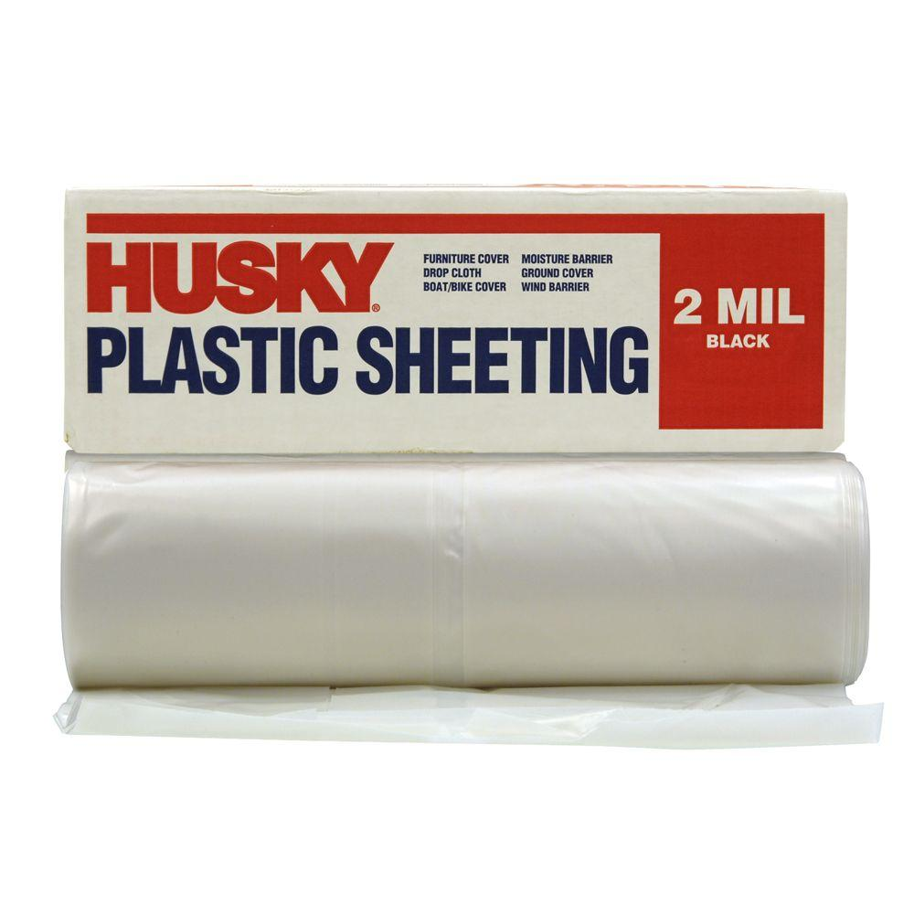 HUSKY 10 ft. x 100 ft. Clear 2 mil. Plastic Sheeting