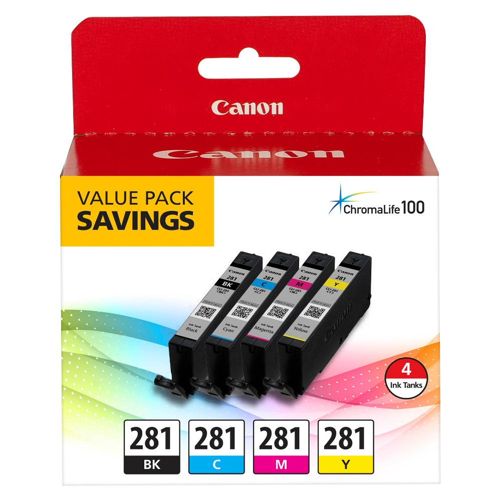 Canon Cli-281 Pixma Ink Cartridge - Black/Cyan/Yellow, Black/Blue/Pink/Yellow