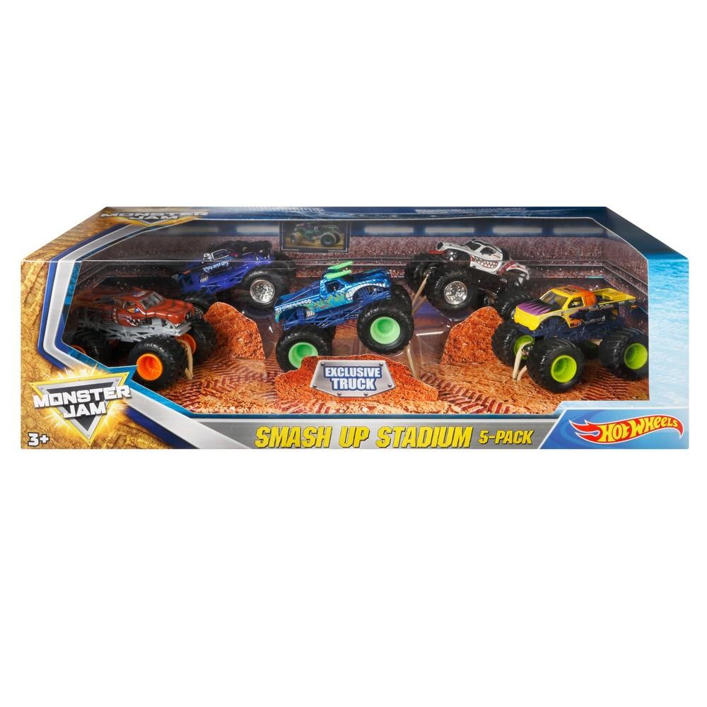 Hot Wheels Monster Jam Smash Up Stadium Vehicle 5pk - Styles May Vary