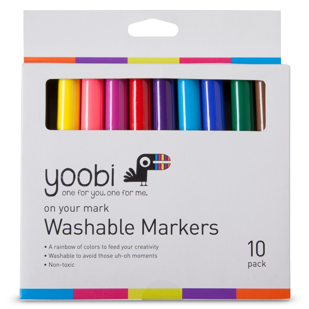 Yoobi Washable Markers - Multicolor, 10 Pack, Multi-Colored