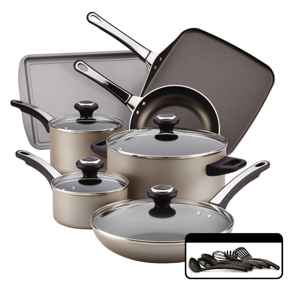 Farberware High Performance Nonstick Aluminum 17-Piece Cookware Set - Champagne (Beige)