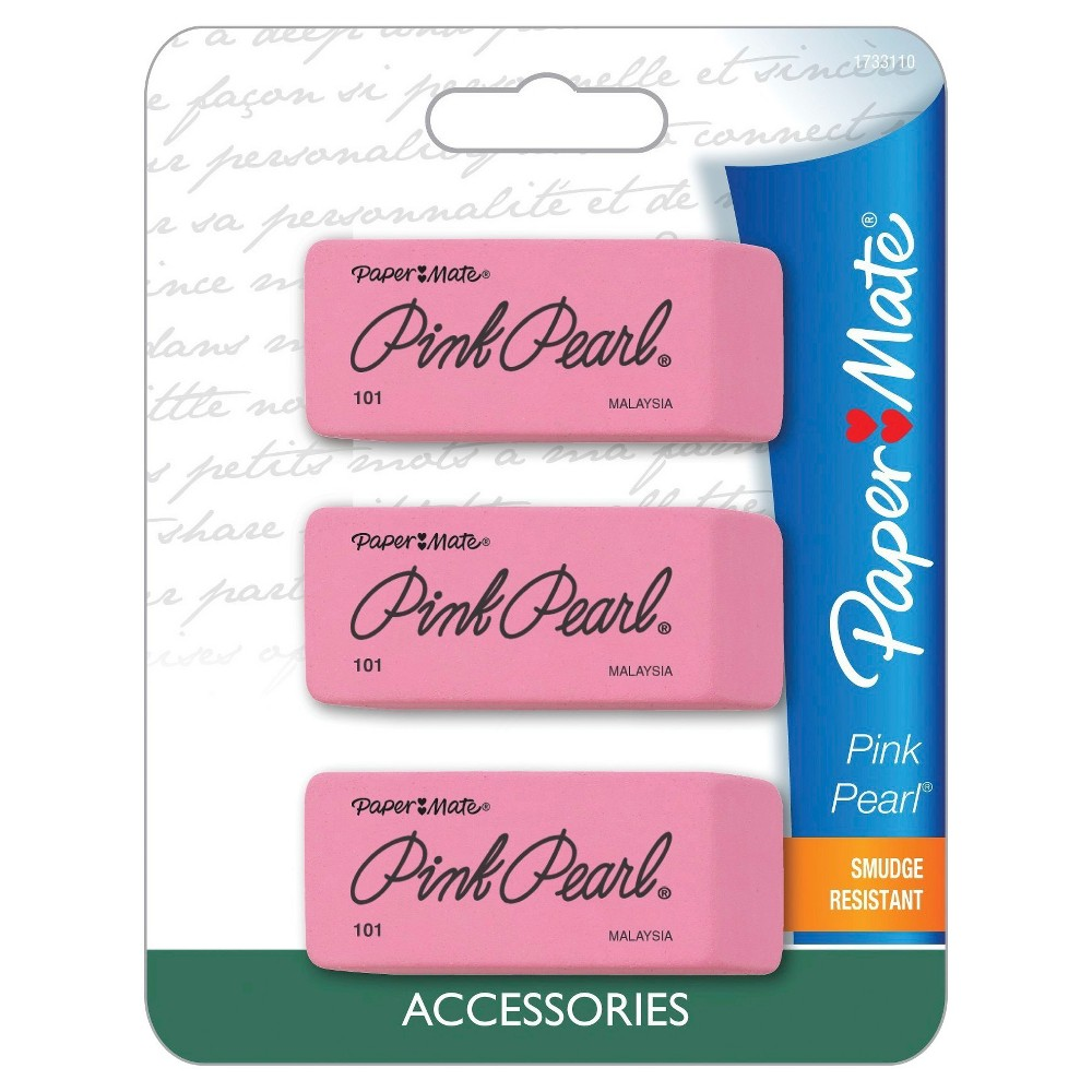 Paper Mate Pink Pearl Erasers, 3ct