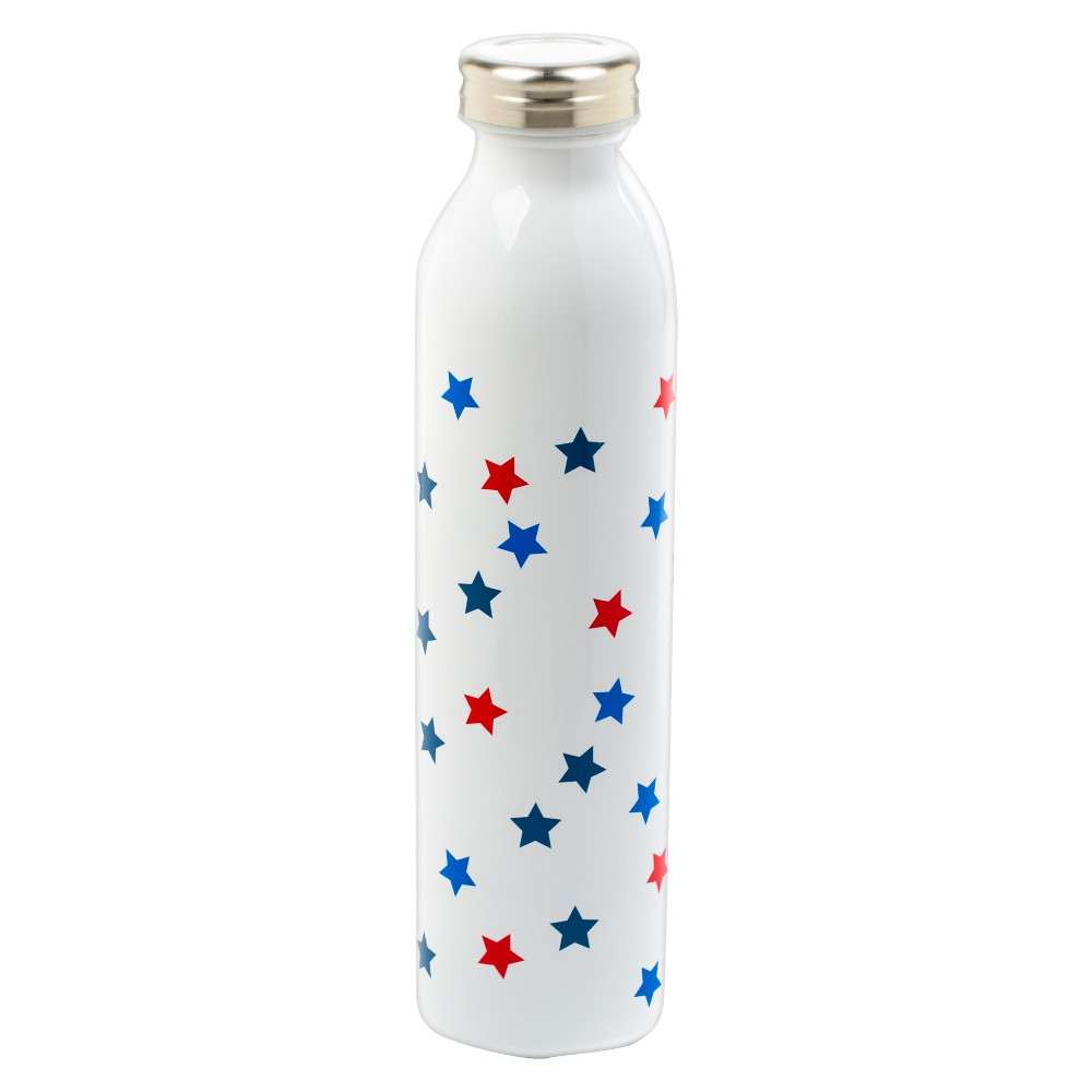 Plastic Water Bottle 20oz Stars - White