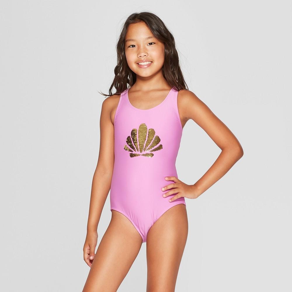 Girls' Flip Sequins One Piece Swimsuit - Cat & Jack Purple XS