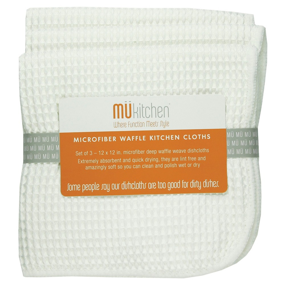"12""X12"" 3pk Waffle Microfiber Cloth White - Mu Kitchen"