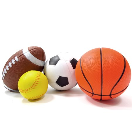 Bisontec Set Of 4 Sports Balls For Kids (Soccer Ball, Basketball, Football, Baseball)