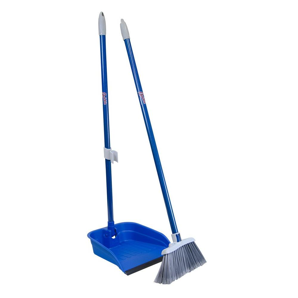 Quickie Stand and Store Lobby Broom and Dustpan Set, Blue