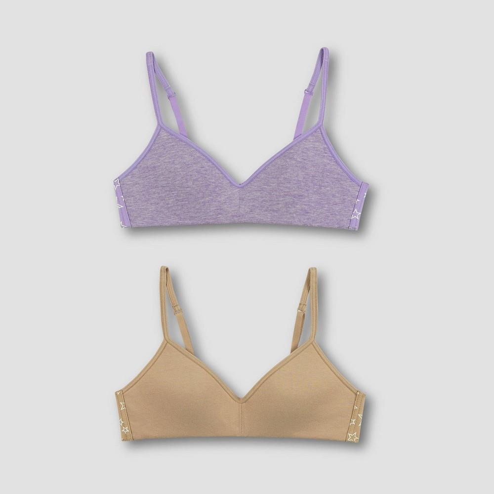 Hanes Girls' 2pk Wide Back Banded Bra - Purple/Beige L, Girl's, Size: Large
