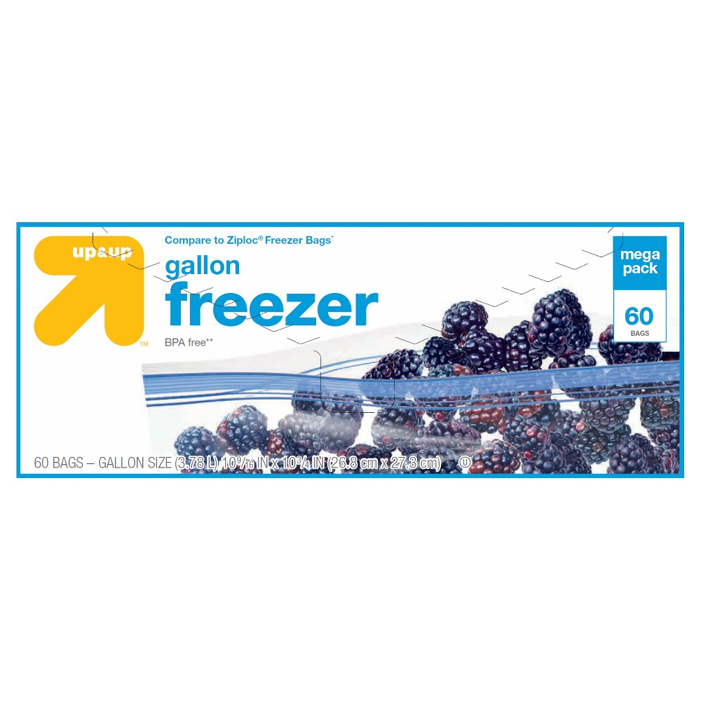 Gallon Freezer Bags 60ct - Up&Up (Compare to Ziploc Freezer Bags), Clear