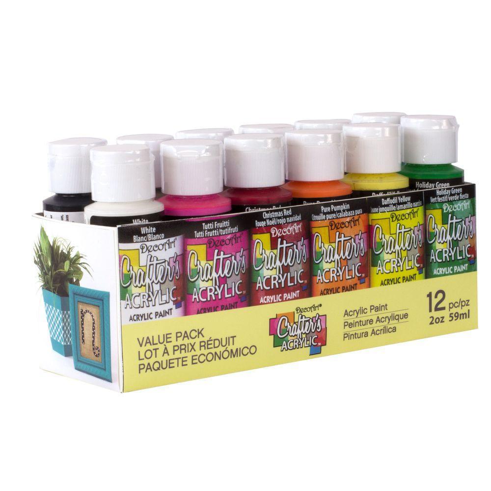 DecoArt 2 oz. 12-Color Acrylic Craft Paint Set, Multi