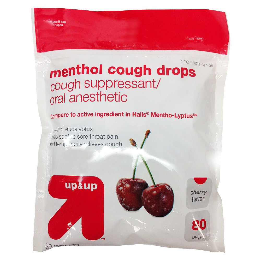 Menthol Cough Drops - (Compare to Halls Mentho-Lyptus) - Cherry - 80 ct - Up&Up