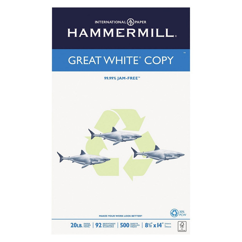 """Hammermill Unruled Recycled Copy Paper, 8.5"""" x 14"""", 500pk - White"""