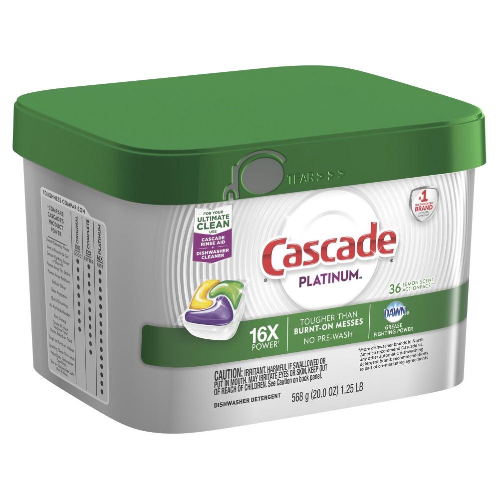 Cascade Lemon Scented Platinum Actionpacs Dishwasher Detergent - 36ct