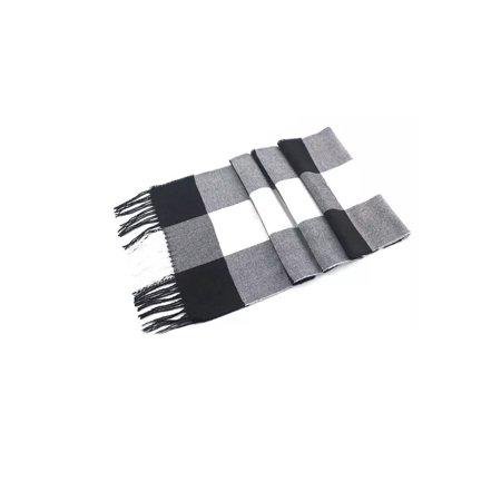Soft Tartan Plaid Blanket Scarf-Black/White